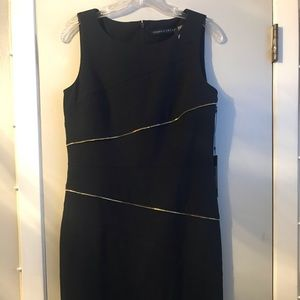 Sexy little navy dress with the look of zippers